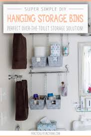 Over The Toilet Bathroom Storage by Diy Hanging Storage Bins For Over The Toilet Storage
