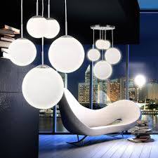Wohnzimmer Design Modern Hänge Lampe Pendel Leuchte 5 Kugeln Satiniert Opal Glas Design