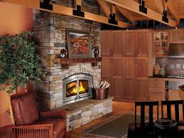 cabin log interior design with high efficiency wood burning