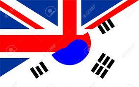 South Korea Flag Very Big Size Half United Kingdom Half South Korea Flag Stock