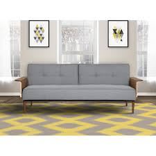 living monroe mid century convertible futon in gray tufted fabric