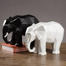 modern creative geometric origami resin elephant ornaments cabinet