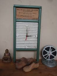 vintage washboard clock recycled and repurposed wash by lahaine