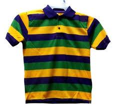 mardi gras polo shirt mardi gras stripe purple green yellow knit large ss polo shirt