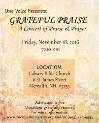 biblical thanksgiving one voice concert information