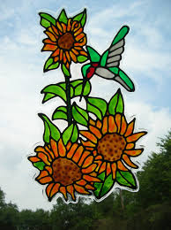 Stained Glass Window Decals Sunflower And Hummingbird Stained Glass Window Cling