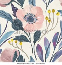 Flower Designs On Paper Vector Illustration Seamless Floral Pattern Spring Stock Vector