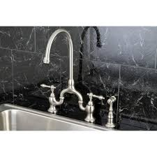 bridge kitchen faucet with side spray vintage high spout satin nickel bridge kitchen faucet with side
