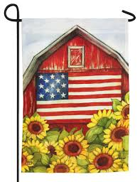 Alabama Yard Flag Patriotic Barn And Sunflowers Garden Flag I Americas Flags