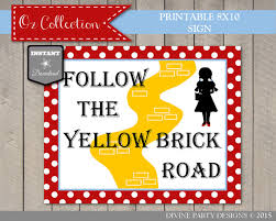 printable yellow brick road instant download wizard of oz follow the yellow brick road