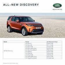 land rover discover 2017 land rover discovery launched at inr 68 05 lakh in india