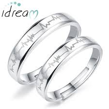 silver wedding ring heartbeat engraved adjustable promise rings for couples