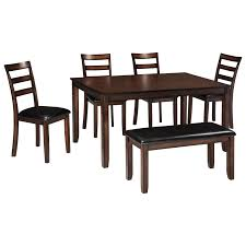 Bench Dining Room Table Set Signature Design By Ashley Coviar Burnished Brown 6 Piece Dining