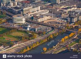 mercedes headquarters germany baden wuerttemberg stuttgart aerial view of mercedes
