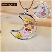 resin necklace wholesale images 20pcs lot pressed real flower jewelry dry flower necklace resin jpg