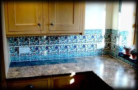 kitchen fancy kitchen decoration with floral ocean blue tile