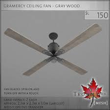 ceiling fan with grey blades simplified ceiling fan with grey blades second life marketplace