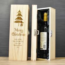 personalised wooden wine christmas gift