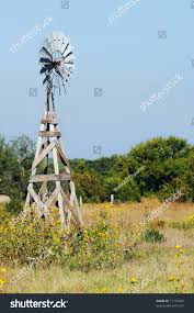 Rustic Wooden Windmill Stands Idle Field Stock Photo 71115499