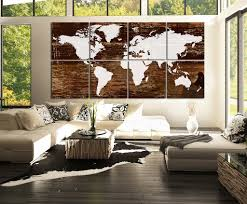 World Map Wood Wall Art by Canvas Art Print White World Map On Rustic Wood 8 Panel Vintage