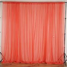 Coral Sheer Curtains 10ft Retardant Coral Sheer Voil Curtain Panel Backdrop