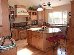 natural small kitchen island wooden design with dark granite top