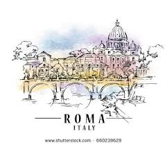 roma sketch on watercolor background vector stock vector 660239629