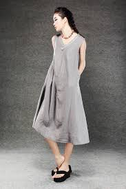 Plus Size Lagenlook Clothing Gray Linen Dress Lagenlook Midi Length Sleeveless V Neck