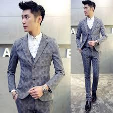 wedding dress korean 720p 3pieces men suit business casual plaid mens suits winter new
