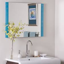 furniture light blue tone frame bathroom wall mirror above vanity