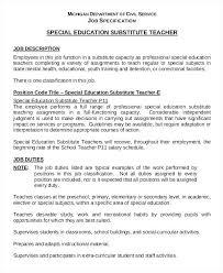 resume exles special education aide duties teacher job description resume special education substitute teacher