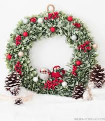 diy wreath with and small ornaments shelterness