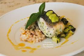 cuisine bar poisson bar sauvage farci à la ricotta risotto de fregola sarda et courgettes