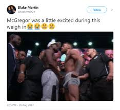 did mcgregor have an at mayweather weigh in daily mail