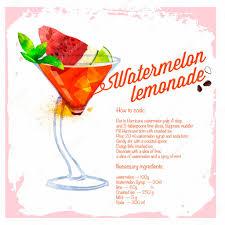 watercolor cocktail cocktail watermelon lemonade menu drawn watercolor u2014 stock