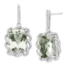 green amethyst earrings 5 1 2 ct green amethyst 1 4 ct diamond drop earrings in
