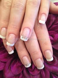 acrylic overlays with white french polish and diamonte nail art