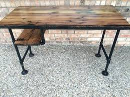 Pipe Coffee Table by Desk Rustic L Shaped Unfinish Wooden Desk With Steel Pipe Table