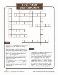 black history month crossword puzzle worksheet education com