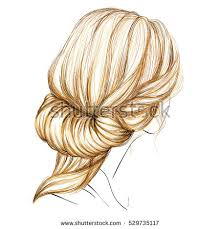 sketch female hairstyle freehand vector illustration stock vector