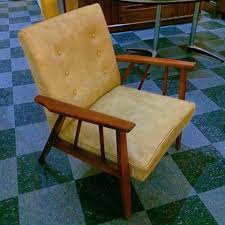 Chair Frames For Upholstery Vintage Wood Frame Lounge Chair W Tan Vinyl Upholstery U2013 Nvision