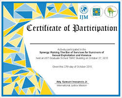 sample certificate of participation free certificate of