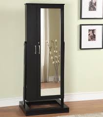 Jewelry Storage Cabinet Black Wooden Glossy Armoire Storage Cabinet With Wall Mounted Over