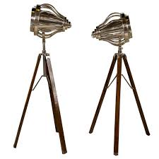 Tripod Floor Lamps Pair Of Industrial Style Tripod Floor Lamps For Sale At 1stdibs
