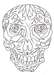 sugar skull line drawing 10 sugar skull tattoos pages to color