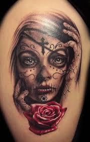 brilliant death latino sleeve tattoo design with wonderful