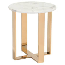 modern round end table modern faux marble and stainless steel 18 round end table stone