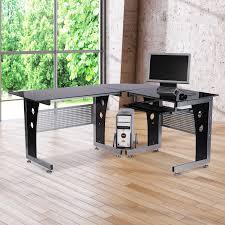 ventouse pour table basse en verre homcom bureau d u0027informatique angle pour ordinateur meuble table de
