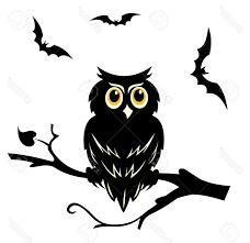 top black halloween owl on the branch of tree stock vector