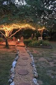 lights in trees surrounding firepit pictures photos and images